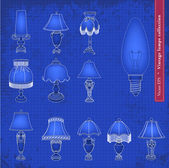 Vintage table lamp blueprint illustration set — Stock Vector