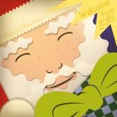 Santa Claus Greeting Card. — Stock Vector