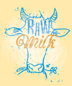 Raw Milk Signage in a Cow Head — Stock Vector