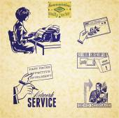 Vintage communication illustration set — Stock Vector