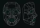 Robot face line art: front and side. — Stok Vektör