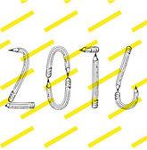 2016 happy new year text — Stock Vector