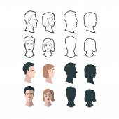Set of gender portraits — Stock Vector