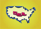USA map in pop art style — Stock Vector