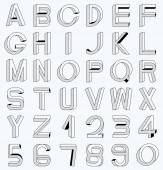 Impossible font set, including numerals — Stock Vector