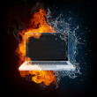 Laptop in Fire and Water — Stock Photo #61804175
