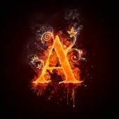 Fire Swirl Letter A — Stock Photo