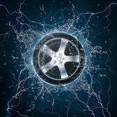 Car Wheel Water — Stock Photo