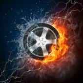 Car Wheel in Flame and Water — Stock fotografie