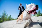 Guard and dog — Stock Photo