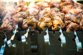 Skewer with a meat pig — Stock Photo