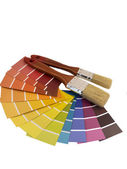Paintbrush and swatches  — Stock Photo