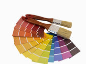 Paintbrush and swatches — Stockfoto