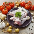 Chicken drumstick with vegetables — Stock Photo #71896727