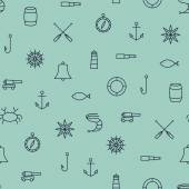 Ship & Sea line icons seamless pattern on blue background — Stock Vector