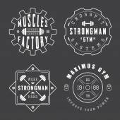 Set of gym logos, labels and slogans in vintage style — Stock Vector