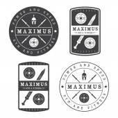 Set of gym logo in vintage style — Stock Vector