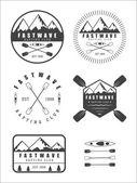 Conjunto se vindima rafting logo, etiquetas e emblemas — Vetor de Stock