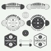 Set of gym logo, labels,badges and elements in vintage style — Stock Vector