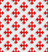 White seamless pattern with red crosses — Vector de stock