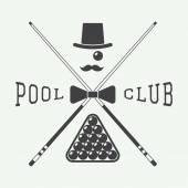 Vintage billiard label, emblem and logo — Stock Vector