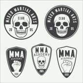 Satz von Jahrgang gemischte Kampfkünste Logo, Abzeichen und Embleme. — Stockvektor