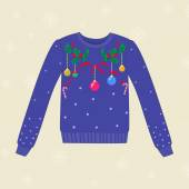 Christmas hand drawn sweater with Christmas decorations — Stock Vector