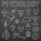 Psychology hand drawn doodle set and typography on chalkboard background — Stock Vector