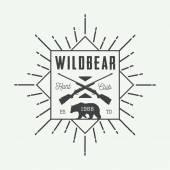 Vintage hunting label, logo or badge and design elements. — Stock Vector