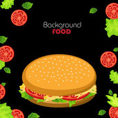 Hamburger and fresh vegetables — Vettoriale Stock