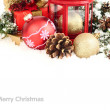 Christmas background with red and gold Christmas balls and cones. — Stock Photo #60658157