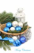 Christmas background with blue and silvery Christmas balls. — Φωτογραφία Αρχείου