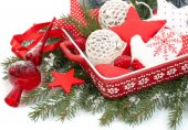 Christmas background with textile jewelry and nuts. — Stockfoto