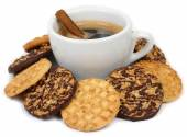 Cup of coffee and cookies on a white background. — Stock Photo