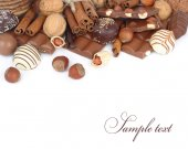 Chocolate on a white background. — Stock Photo