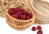 Raspberry in a basket on a white background. — Stock Photo