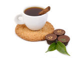 Cup of coffee and chocolate of a praline on a white background. — Stock Photo