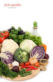 Fresh vegetables on a white background. — Stock Photo
