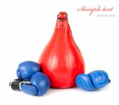 Punching bag and boxing gloves on a white background. Sports background. A sports equipment for training. — Stock Photo