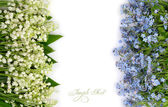 Flower background with lilies of the valley and blue flowers with a place for the text. Top view. — Stock Photo