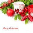 Red Christmas ball both red and white candlesticks on a white background. A Christmas background with a place for the text. — Stock Photo #74939583