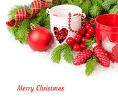 Red Christmas ball both red and white candlesticks on a white background. A Christmas background with a place for the text. — Stock Photo