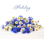 Fresh cornflowers and camomiles on a white shabby wooden background. A flower background with a place for the text. — Stock Photo