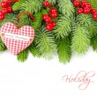 Red berries and red checkered textile heart on fluffy branches of a Christmas tree on a white background. A Christmas background with a place for the text. — Stockfoto #78559258