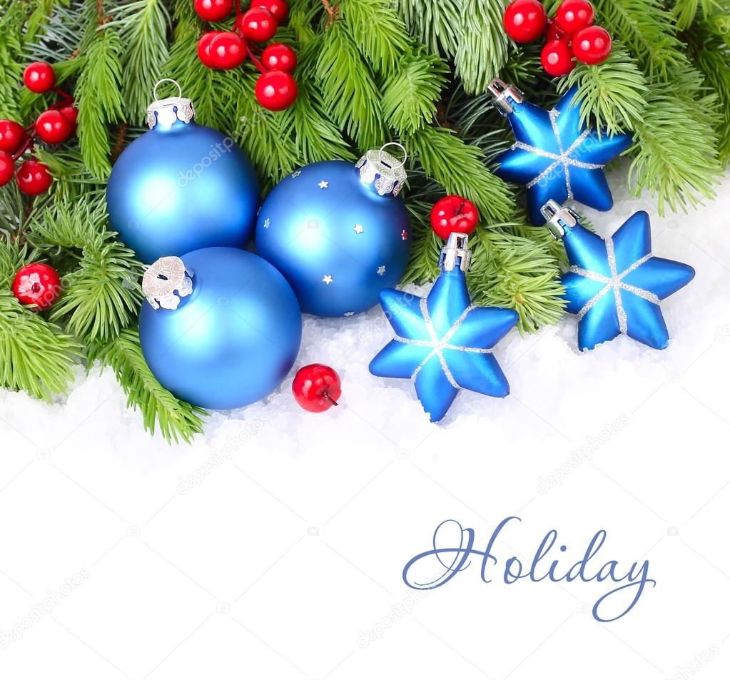 Blue Christmas Tree Wallpaper: Blue Christmas Balls And Stars And Red Berries On Fluffy