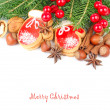 Ginger cookies in the form of mittens, nuts and red berries on branches of a Christmas tree on a white background. A Christmas background with a place for the text. — Stock Photo #78925104