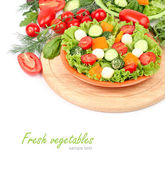 The Greek salad with cheese balls and fresh ripe vegetables and herbs on an orange plate on a white background with a place for the text. — Stock Photo