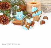 Christmas ginger cookies in blue glaze, nuts and cones on snow on a white background. A Christmas background with a place for the text. — Stock Photo