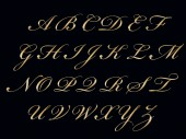 Gold handwritten alphabet — Stockfoto