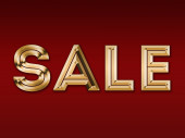"""Gold inscription """"sale"""" on a red background — Stock Photo"""